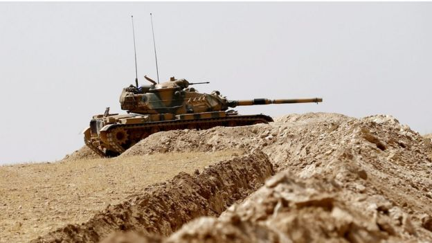 A Turkish tank at the Syrian border