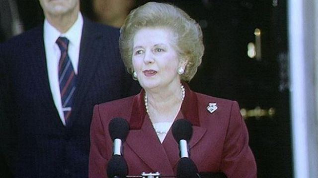 Margaret Thatcher makes her final speech outside Downing St