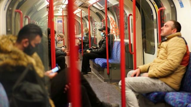 On a Tube train in London