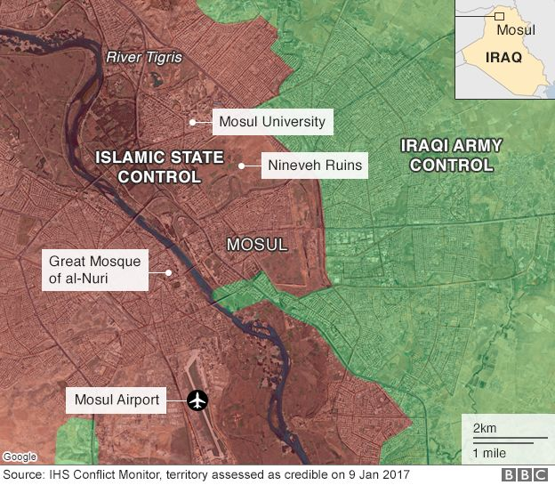 Map of Mosul in Iraq