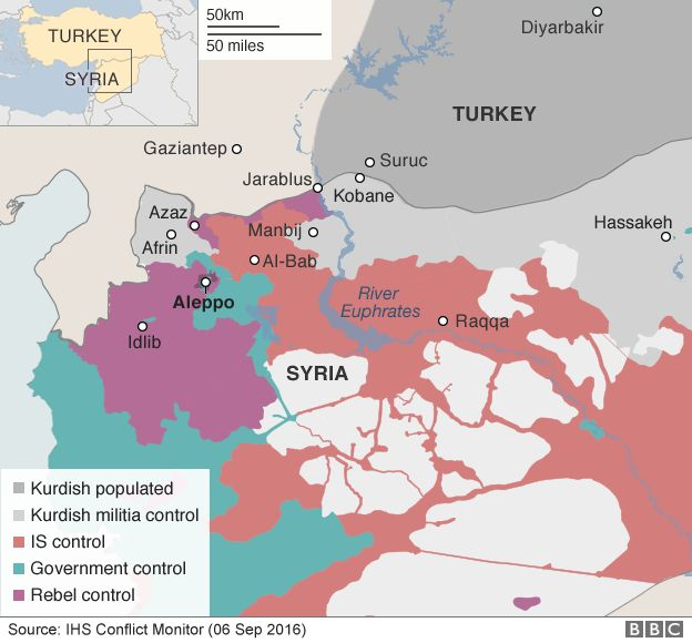 Map showing control of northern Syria - 6 September 2016