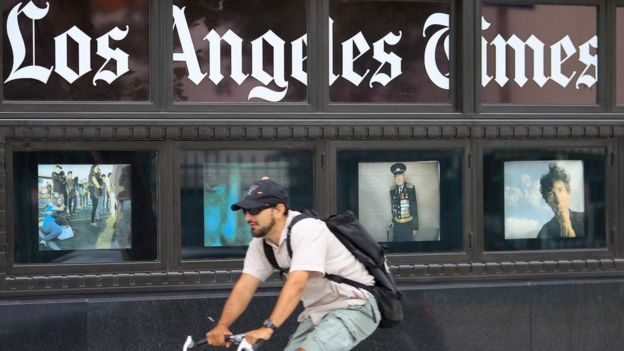 The defaced story was on the Los Angeles Times website for around an hour, the defence said.