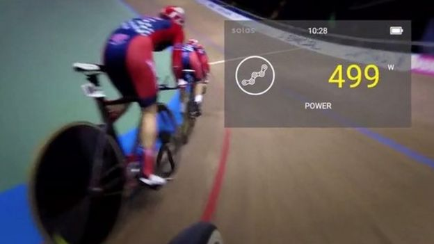 Heads-up display of track cyclist