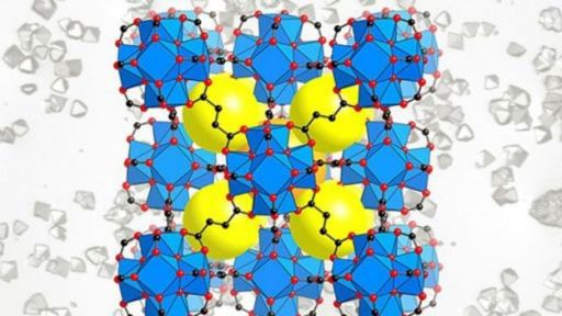 Ilustração de moléculas de estruturas metalorgânicas