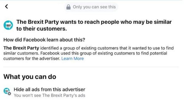 Brexit Party advertising information