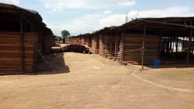 Timber market in Port Harcourt, Nigeria
