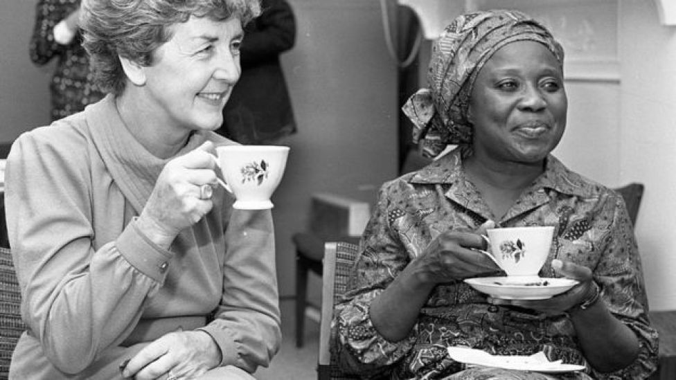 Sally Mugabe, wife of Zimbabwean President Robert Mugabe, at the Irish Countrywomen's Association in Dublin during a three-day visit with her husband to Dublin in September 1983.