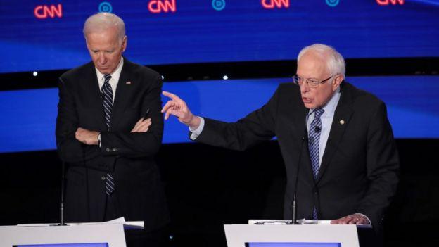 Sanders and Biden at the Iowa Democratic Debate