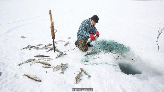 Pescador no Mar do Norte de Aral