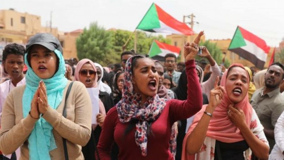 Demonstrators in Sudan, July 2019