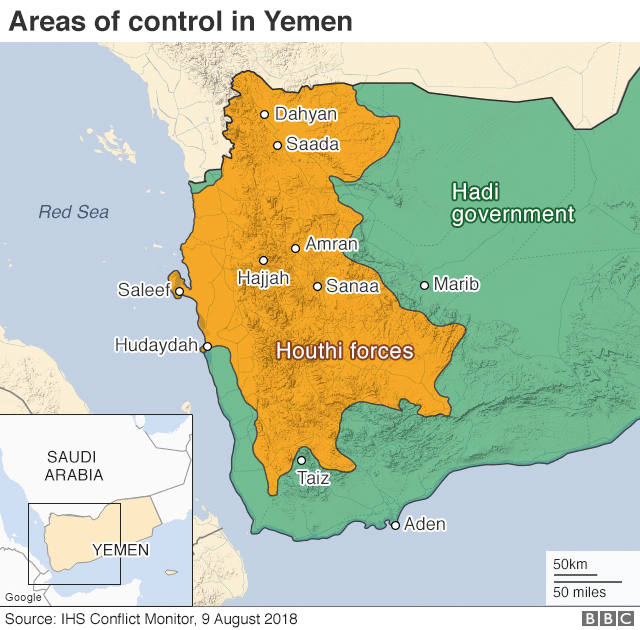 Map showing control of Yemen