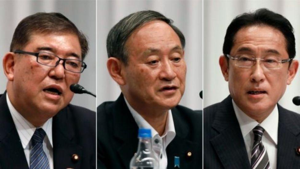 Fumio Kishida (left), Yoshihide Suga (centre), Shigeru Ishiba