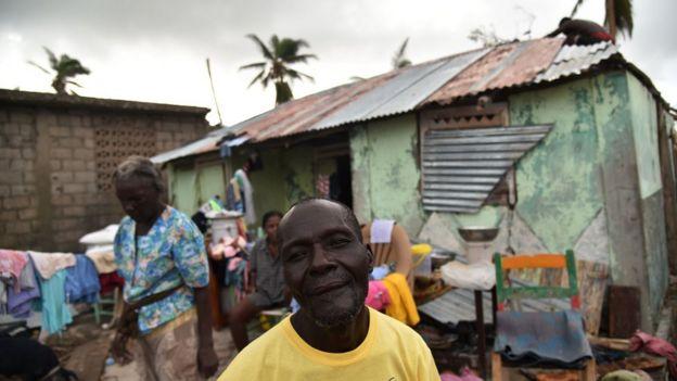 Residents repair their home