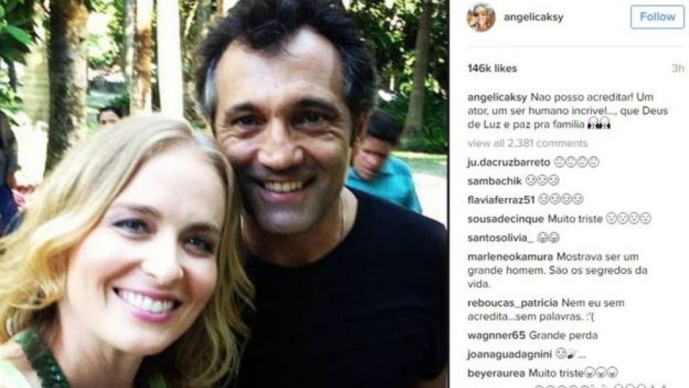 Post by TV presenter Angelica Huck on Instagram saying: I can't believe it - an incredible actor and human being. May God give light and peace to his family.