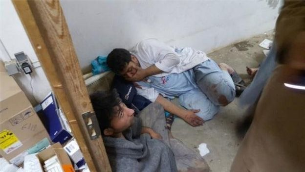 MSF staff in shock in one of the remaining parts of MSF hospital in Kunduz