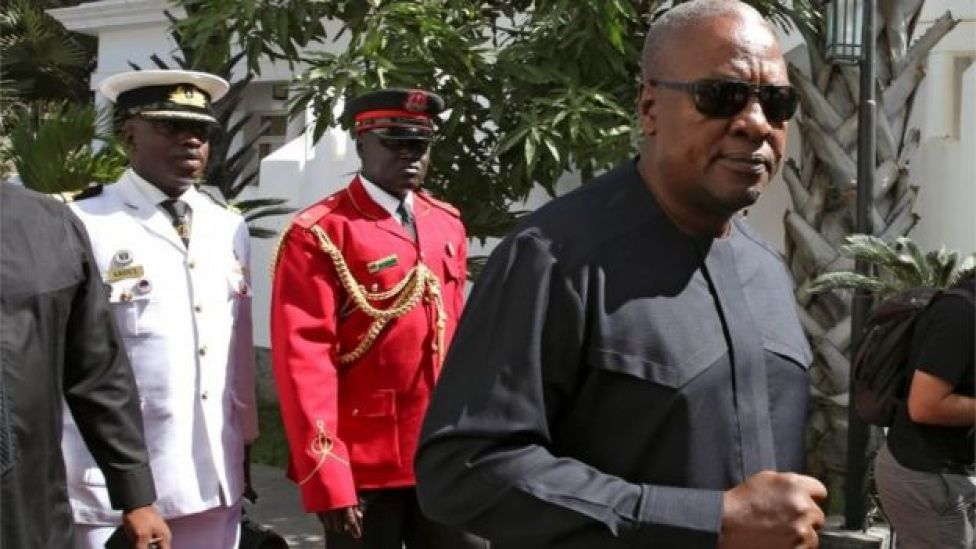 Ghana's John Mahama is seen on arrival for the international mediation on Gambia election conflict in Banjul, Gambia December 13, 2016