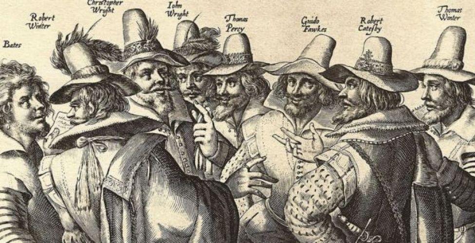 Los conspiradores, entre ellos, el líder Catesby, Wright el espadachín, Percy el infiltrado, Wintour el diplomático y Fawkes, el fabricante de bombas.
