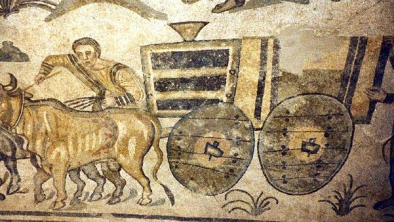 Mosaico da Villa Romana del Casale (Piazza Armerina) no qual se pode ver como rodas são fixadas a eixo