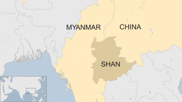 A map showing Myanmar and the state of Shan that borders China