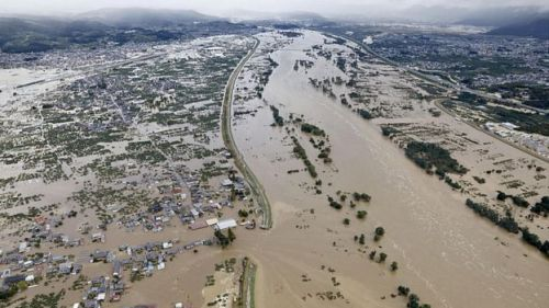 Areas flooded by the Chikuma river following Typhoon Hagibis in Nagano, central Japan, October 13, 2019
