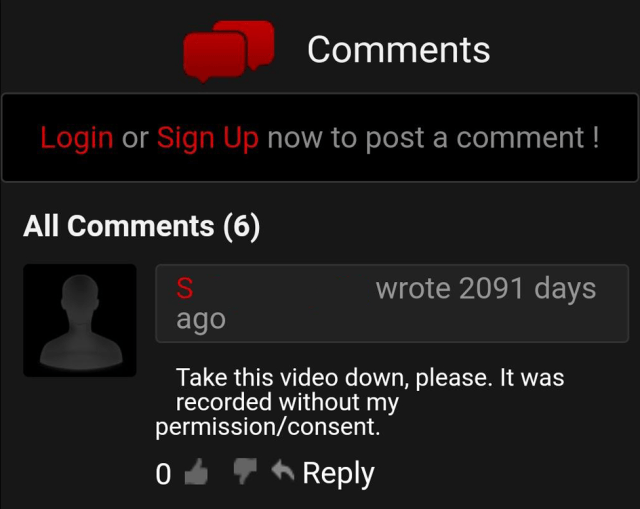Comment left on porn website asking for the video to be taken down