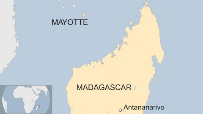 Map showing location of Mayotte in relation to Madagascar