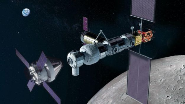 The Orion crew module docking with Gateway in lunar orbit