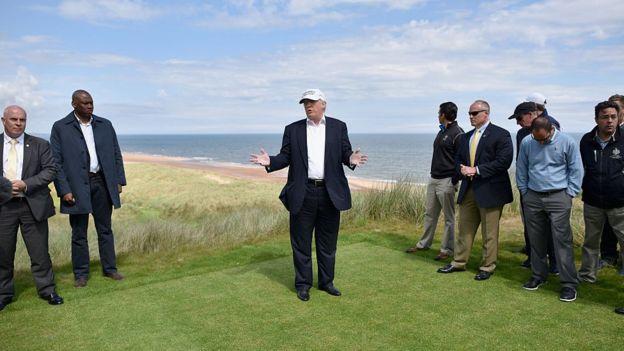 Donald Trump em Aberdeen, na Escócia