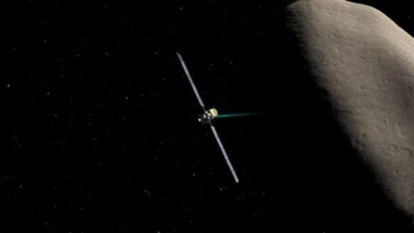 Concepção artística da nave Dawn perto do asteroide Ceres