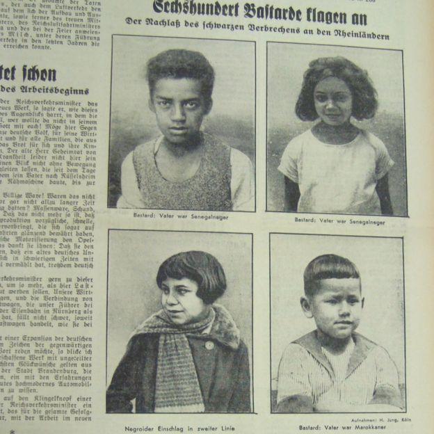"""Frankfurter Volksblatt'ın 1936'daki başlığı: """"600 p.. suçlandı, Rhineland'lilere karşı siyahların işlediği suçların mirası"""""""