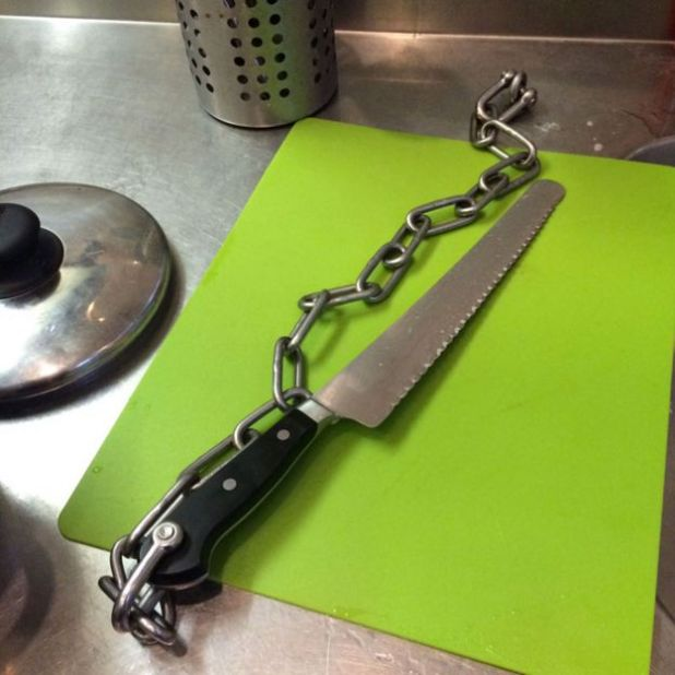 Knife in prison kitchen