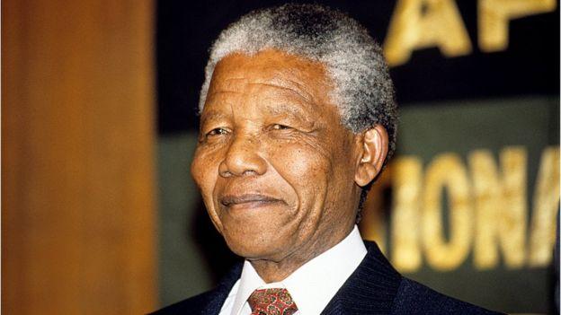 Nelson Mandela, leader de l'ANC (African National Congress), en april 1991