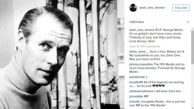Sean Ono Lennon paid tribute to George Martin on Instagram