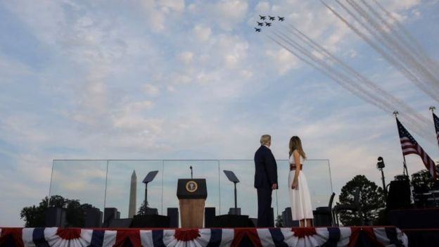President Trump watches a military flypast