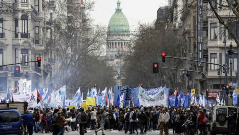 Protesto contra as medidas de austeridade do governo Macri, em 12 de setembro