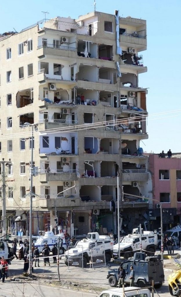 Damaged building in Turkey's Diyarbakir after a bomb blast on 4 November 2016