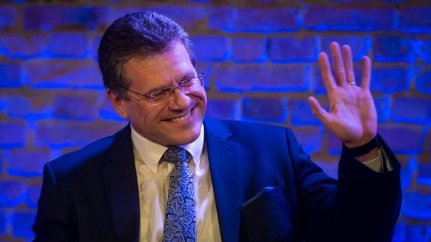Maros Sefcovic, takes part in a public debate organised by Slovak daily Dennik N in Bratislava, 11 March 2019