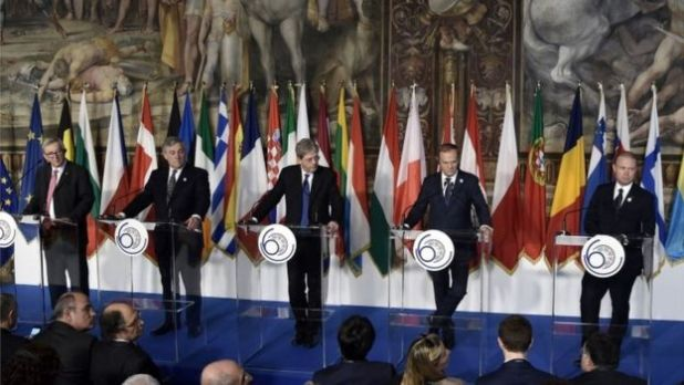 President of the European Commission Jean-Claude Juncker, EU Parliament president Antonio Tajani, Italy's Prime Minister Paolo Gentiloni, President of the European Council Donald Tusk and Malta's Prime Minister Joseph Muscat take part in a press conference in Rome following the signing of the new Rome declaration with leaders of 27 European Union countries, March 25, 2017