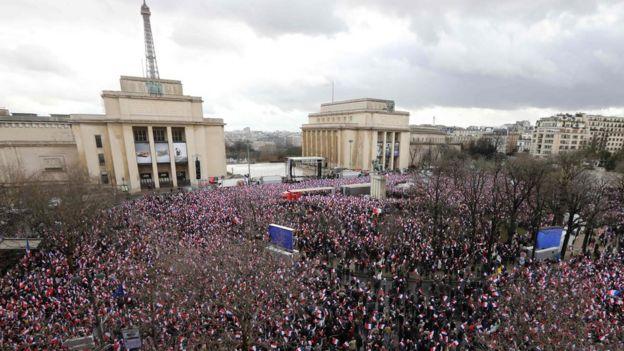 Rally for Francois Fillon at Trocadero Square in Paris - 5 March