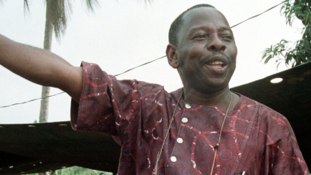 Ken Saro-Wiwa addressing Ogoni Day demonstration Nigeria in 1993