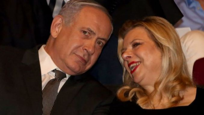 This file photo taken on June 23, 2016 shows Israeli Prime Minister Benjamin Netanyahu and his wife Sara attending the 2016 Genesis Prize ceremony