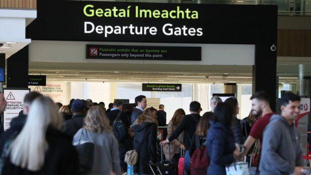 Departure gate at Dublin Airport