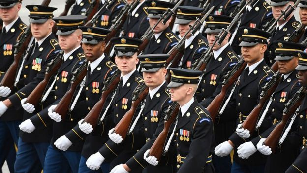 Members of the Army march during the presidential inauguration.