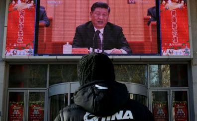 Xi Jinping en una pantalla.