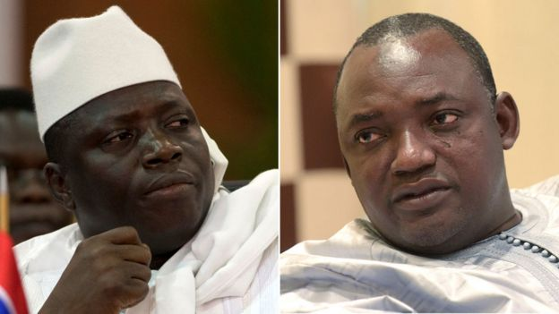 Jahya Jammeh and Adama Barrow pictured in a composite image