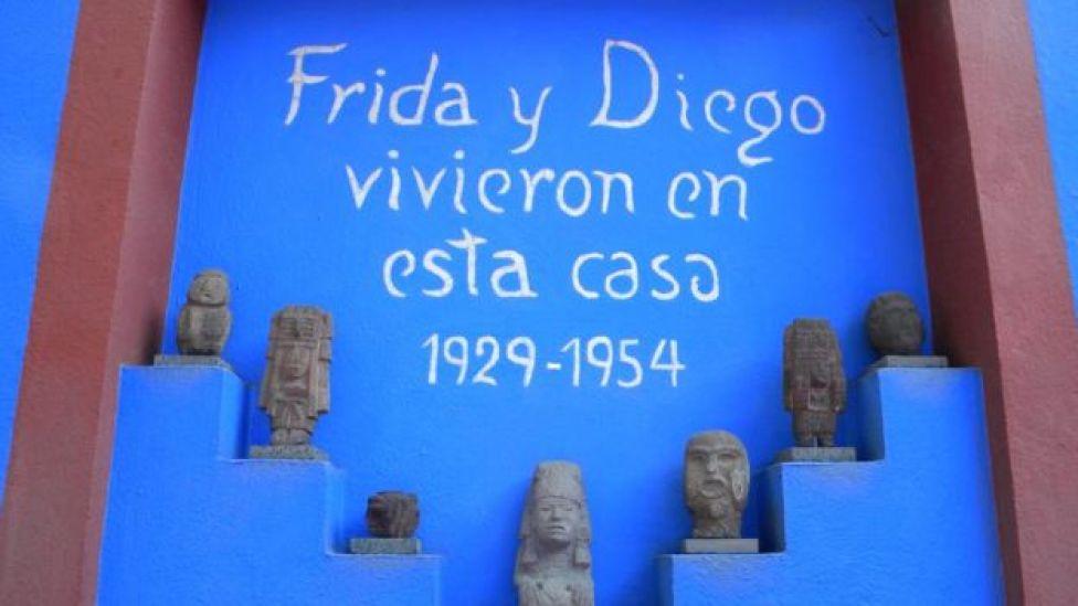 Mural na casa de Frida Kahlo e Diego Rivera na Cidade do México