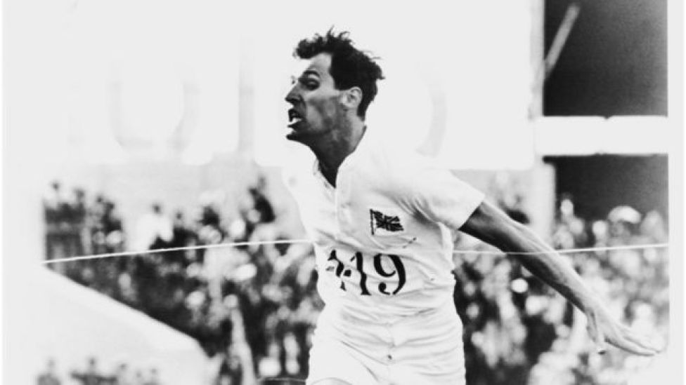 British athlete Harold Abrahams, played by Ben Cross, wins the 100 Metres event at the Paris Olympics in a scene from Chariots Of Fire