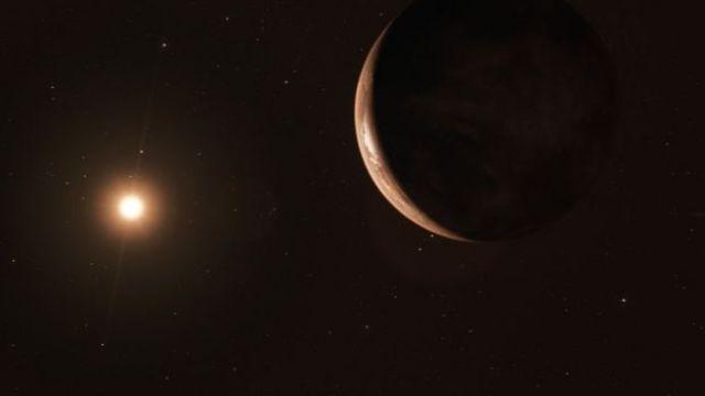 Ilustração de como pode ser o pleneta Barnard b e sua estrela