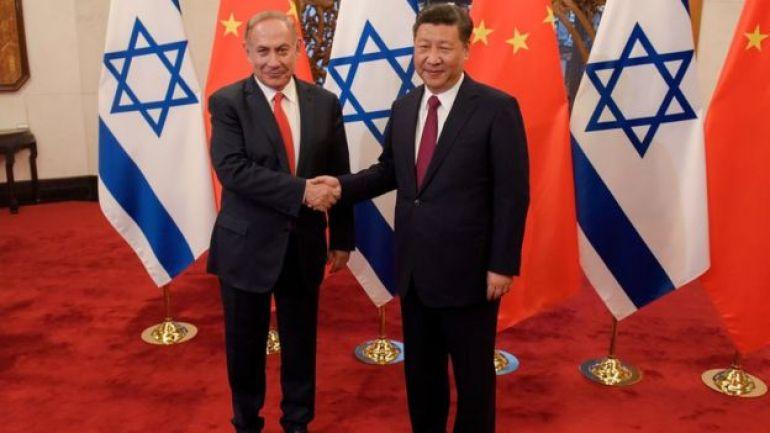 El presidente de China, Xi Jinping, y el primer ministro de Israel, Benjamin Netanyahu.
