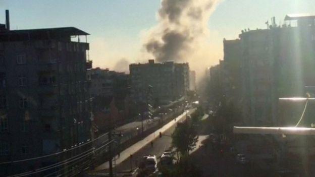 Smoke rises over Diyarbakir, Turkey, 4 November